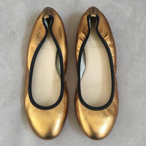 J Crew   Metallic Gold Lula Ballet Flats